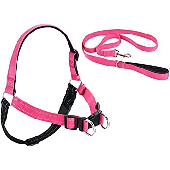 No Pull Reflective Dog Harness and Leash Padded Pink Medium
