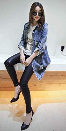 Autunno Bavero Jeans Di Single Breasted Invernali Tasche Anteriori Giaccone Elegante Moda Lunga Giacche Semplice Confortevole Cappotto Baggy Outerwear Manica Cavo Blau Glamorous Donna X4qwS