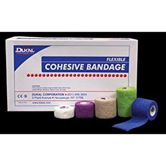 DUKAL 8035AS Cohesive Bandage, Non-Sterile, Latex, 3'' Width, 5 yd. Length, Assorted Colors (Pack of 24)
