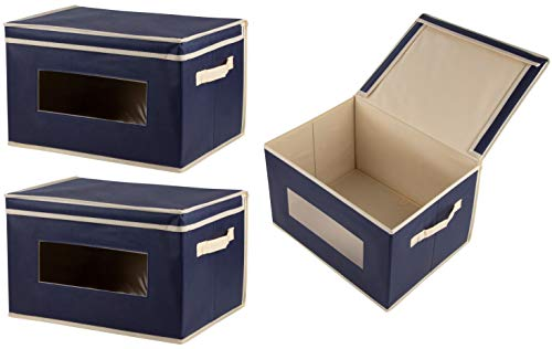 Juvale Storage Bins – 3-Pack Foldable Storage Cubes, Decorative Fabric Storage Bins with Lids and Clear Windows, Household Organization, Closet, Office Supplies, Navy Blue, 16.25 x 12 x 10 Inches