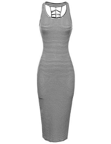 Line Awdmd0119 White Charcoal Women's Maxi Long Awesome21 Tank Racerback Striped Sleeveless Dresses qAd5SC