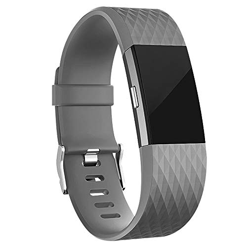 iGK Replacement Bands Compatible for Fitbit Charge 2, Adjustable Replacement Bands with Metal Clasp Special Edition Grey Small