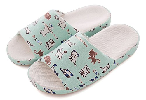 Plaid&Plain Women's Cat Pattern Open Toe Leisure Indoor Cotton Flax Slide Sandal Slipper Green 37-38 (Plain Slides compare prices)