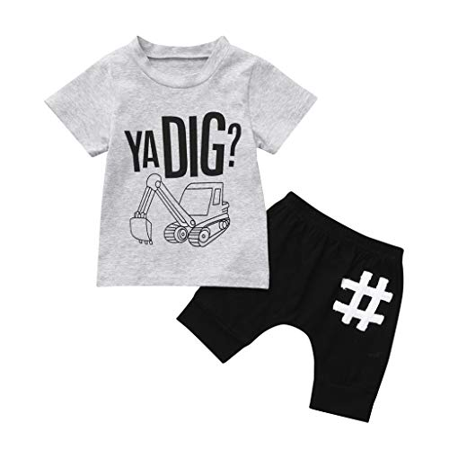 2Pcs Toddler Kids Baby Boy Letter Outfits Short Sleeve T-Shirt Top+Pants Clothes Set Gray -