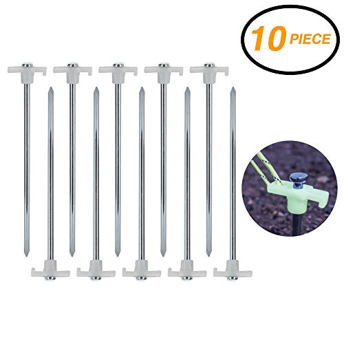 Ram-Pro 10 Pack Metal Tent Pegs - Glow in The Dark Stopper Tent Stakes Heavy Duty Garden Stakes, Camping Stakes Metal Tent pegs Tent Stakes Pegs with Plastic stoppers ()