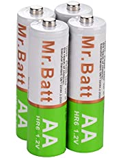 Mr.Batt NiMH AA Rechargeable Batteries (4 Pack), Pre-Charged, 1600mAh