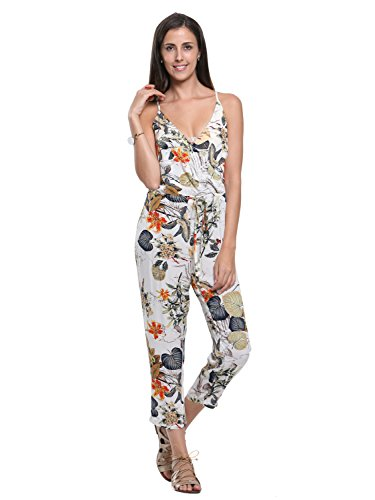 Persun Women's Spaghetti Strap Wrap Plunge Floral Print Cami Jumpsuit - Printed Tie Waist Cami