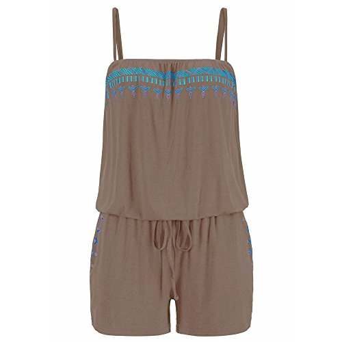 LiLiMeng Womens Holiday Casual Strap Sleeveless Mini Playsuit Ladies Jumpsuit Summer Beach Rompers Casual Clothes Coffee ()