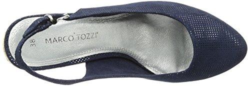 Marco Tozzi 29608, Sandales Bout Ouvert Femme, Bleu Marine, 36 EU Bleu (Navy Metallic 824)
