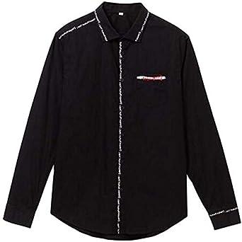 Desigual – Camisa de letras Tobias – Negro (M): Amazon.es: Ropa y accesorios