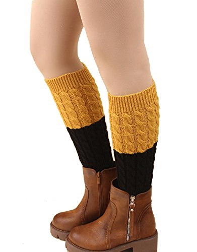 Century Star Women Assorted Colors Short Leg Warmers Long Lace Trim Boot Cuffs A Black Yellow