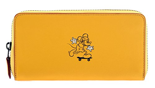 COACH MICKEY Accordion Zip Wallet in Glove Calf Leather Banana by Coach