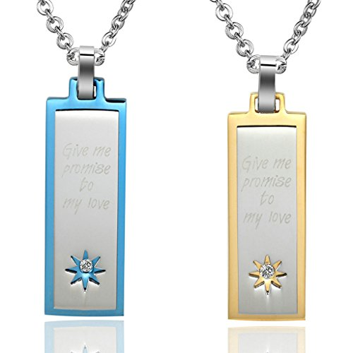 Daesar Hers & Hers Necklace Set Couples Stainless Steel
