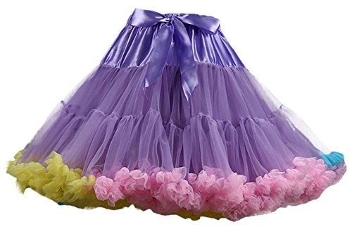 IF FEEL Women's Luxurious Soft Chiffon Petticoat Tulle Tutu Skirt (One Size, Purplemuti)