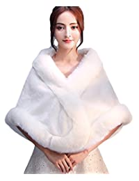 Insun Women's Faux Fur Winter Wedding Shawl for Bride Wedding Capes and Wraps