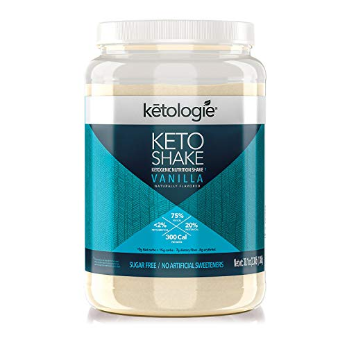 Ketologie Ultra Low Carb Protein Shake, High-Fat Keto Meal Replacement (Vanilla)