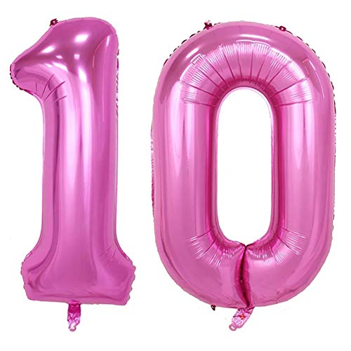 - KEYYOOMY 40 in Number 10 Balloon Pink Gaint Jumbo Foil Mylar Number Balloons for 10 Year Old Birthday Party Decorations