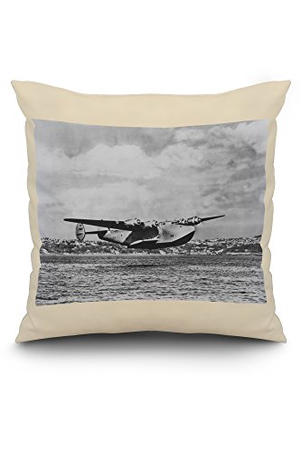 Boeing 314 China Clipper Over Water Airplane Photograph (20x20 Spun Polyester Pillow, White Border) ()