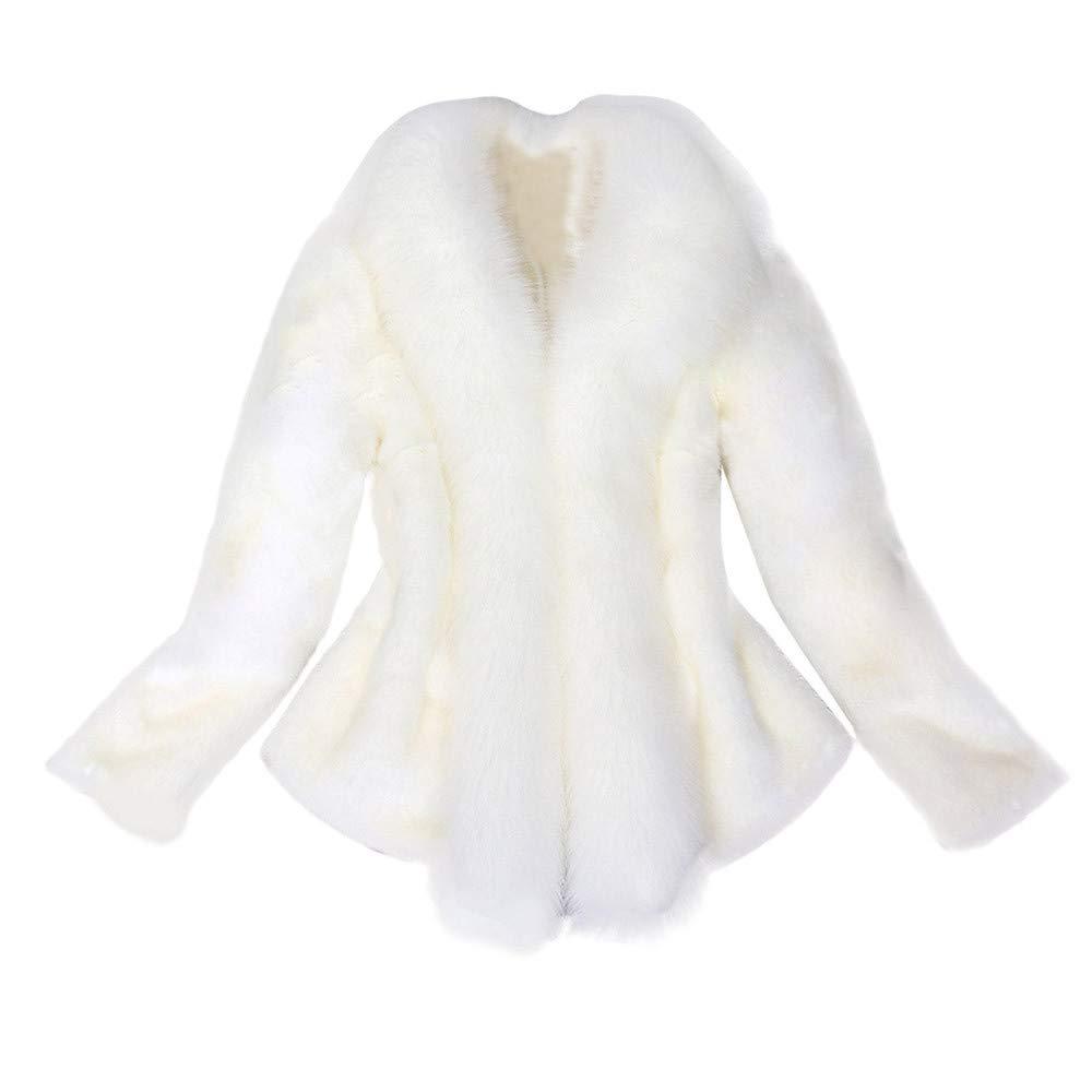 White1 Warm Winter Coats for Women Laimeng_World Women's Winter Thick Outerwear Warm Long Fox Faux Fur Coat for Wedding Party