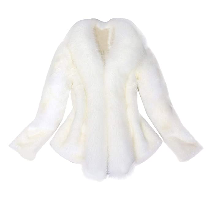 DongDong✫Women Elegant Thick Warm Faux Fur Parka Outerwear Fake Wedding Plus Size Jacket Coat at Amazon Womens Clothing store: