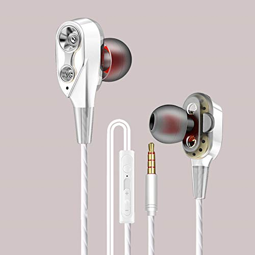 ZFD Noise Isolating in Ear Headphones Earphones with Microphone Pure Sound Powerful Bass Wired Earphones for Running, Cycling, Gym, Travelling,White