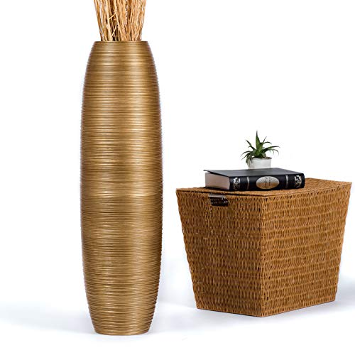 Leewadee Tall Big Floor Standing Vase For Home Decor, 10x36 inches, Wood, Gold