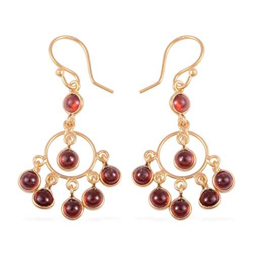 (Dangle Drop Earrings 925 Sterling Silver Vermeil Yellow Gold Round Garnet Gift Jewelry for Women)