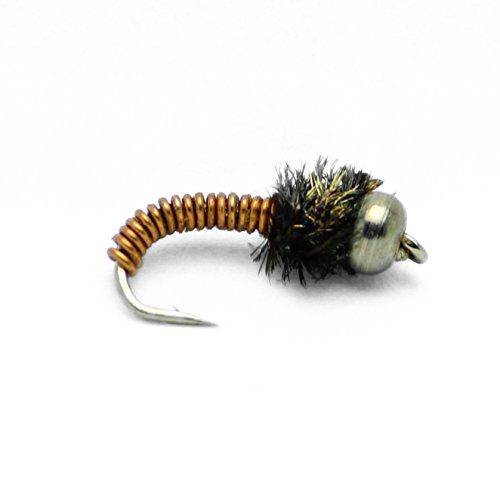 Assortment Fly Wet (Feeder Creek Bead Head Brassie Nymph Fly Fishing Trout Flies - One Dozen Wet Flies - 4 Size Assortment 12,14,16,18 (3 of Each Size))