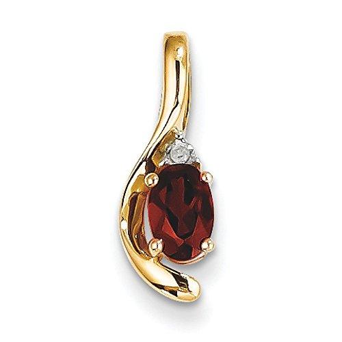 14 carats et diamants bruts Pendentif Grenat-JewelryWeb