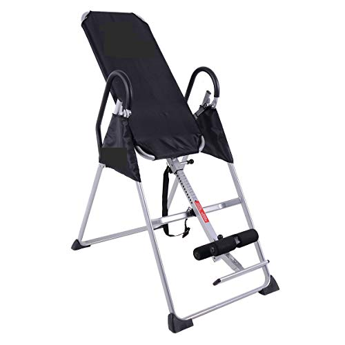 VeenShop Black Health Foldable Premium Gravity Inversion Table Back Therapy Fitness Reflexology