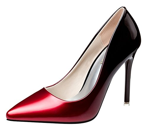 T&Mates Womens Trendy Shallow Pointed Toe Stiletto High Heel Gradient Patent Leather Pumps Shoes (8 B(M) - Housing Pump Upper