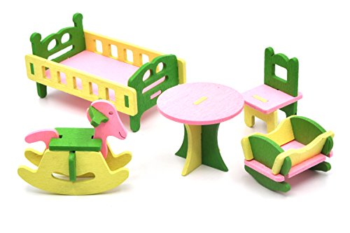 Pretend Kitchen Furniture (Wooden Dollhouse Toy Furniture Set, Mini Doll House Additional Accessory for Family Living Scenario Pretend Play, Living Room/Kitchen/Bathroom/Nursery/Dinning Room/Bedroom (Baby room 542))