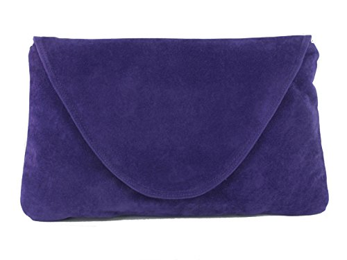 Loni Womens Attractive Large Faux Suede Clutch Bag/Shoulder Bag Wedding Party Occasion Bag in violet purple by LONI