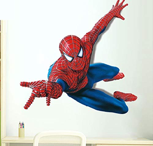 3D Art Removable Spiderman Boy Room Wall Sticker Home Decal, Peel and Stick Wall Decal for Kids Room Wall -