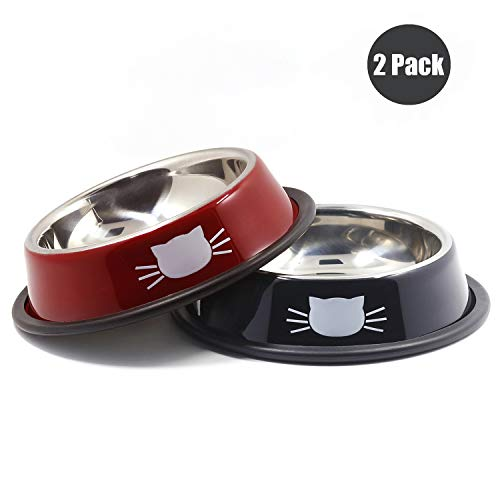 (Ureverbasic Cat Bowls Stainless Steel Dog Bowl 8oz for Small Pets Puppy Kitten Rabbit Non-Skid Cat Food Bowls Easy to Clean Durable Cat Dish for Food and Water)