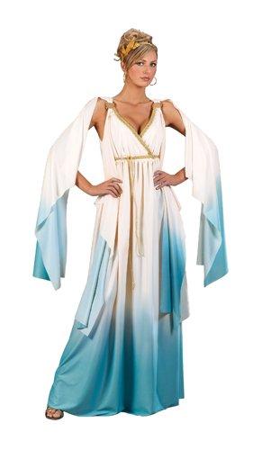 (Fun World Greek Goddess Costume, Cream/Light blue, Small/Medium)