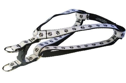 Sassy Dog Wear 15-21-Inch Black/White Puppy Paws Dog Harness, Small