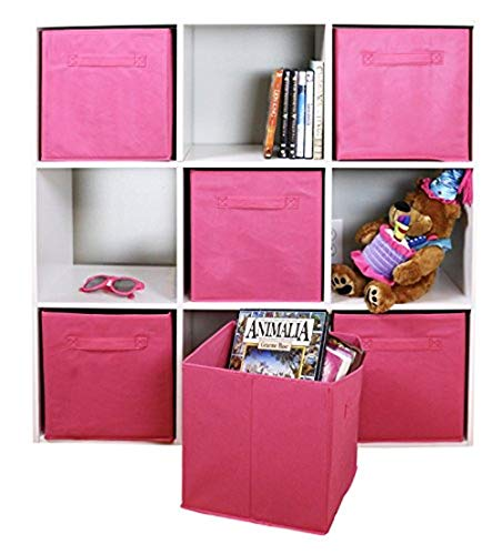 Adorn Home Essentials| Dual Handle Foldable Cloth Storage Cube| Basket, Bins,Containers and Drawer Organizer| 6- Pack - Pink