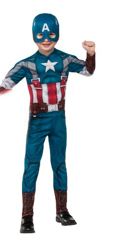 [Rubies Marvel Comics Collection: Captain America: The Winter Soldier Deluxe Retro Suit Captain America Costume, Child Large] (Captain America Suit Kids)