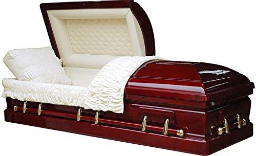 Steel Casket - Overnight Caskets - Belmont Mahogany Veneer/Velvet Interior - Fine Wood Casket/Coffin - 1-3 Day Shipping