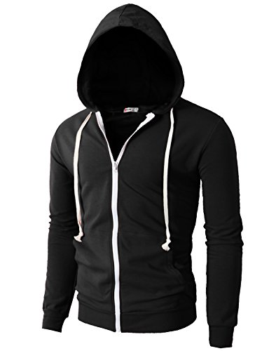 H2H+Mens+Fashion+Lightweight+Zip-up+Hoodie+with+Pocket+Of+Various+Colors+BLACK+US+L%2FAsia+XXL+%28JNSK24%29