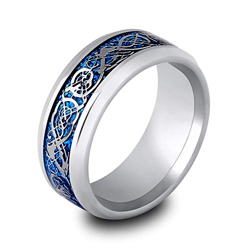 (Mingjiahui Sliver and Blue Celtic Dragon Titanium Steel Wedding Band Ring for Mens and Womens 8MM Width Size 12)