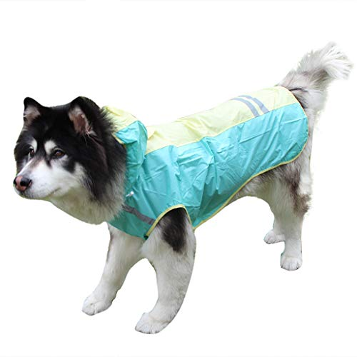 AHAYAKU Pet High Visibility Raincoat Jacket Reflective Stripes for Medium and Large Dog Green (40 15 8 N 58 26 23 E)