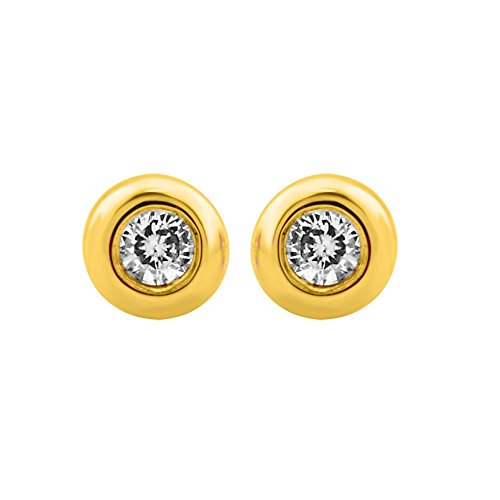 Bezel Set Brilliant Cut Diamond (10k Yellow Gold Round Brilliant Cut Diamond Stud Earrings ( 0.05 Carat))