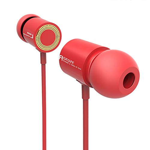Noise Cancelling in Ear Headphones with Microphone - 3.5mm Jack and 47in Long (Red)