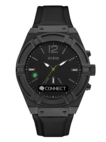 GUESS Men's CONNECT Smartwatch with Amazon Alexa and Genuine Leather Strap Buckle - iOS and Android Compatible -  Black