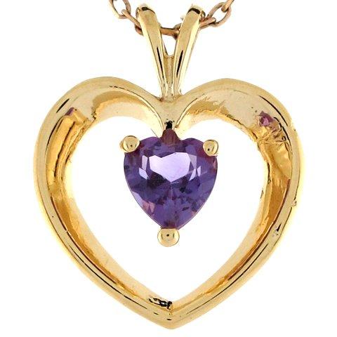 9ct Or Jaune Joli Pendentif Coeur Flottant 1.77cm Serti D'une Améthyste