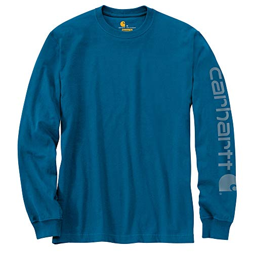 - Carhartt Men's Signature Logo Long Sleeve T-Shirt, Bold Blue Heather, Small