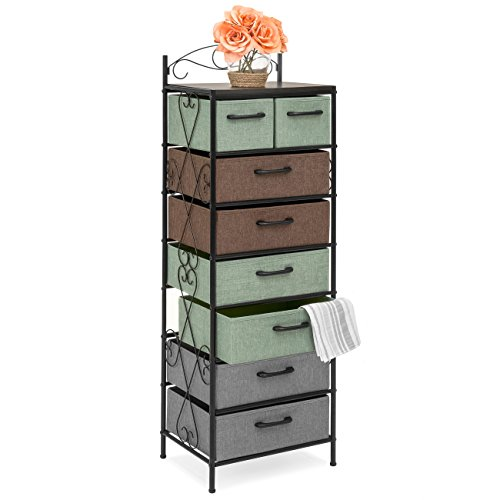 Best Choice Products 8-Drawer Storage Organization Tower Cabinet for Bedroom, Living Room w/Metal Frame, Polyester Drawers, Multicolor ()