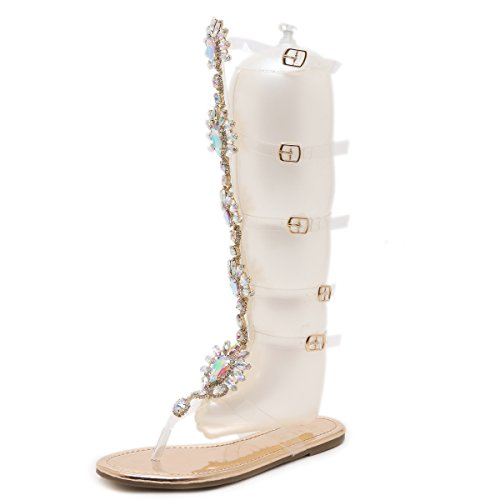 iator Flats Sandals Summer Rhinestone Ankle Strap Buckle Transparent Strip Knee-High Beach Shoes Champagne US 7 ()